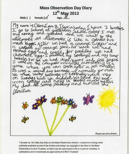 Childs handwritten diary with colourful picture of flowers, butterflies and sun