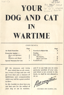 Leaflet advising on how to care for Your Dog and Cat in Wartime