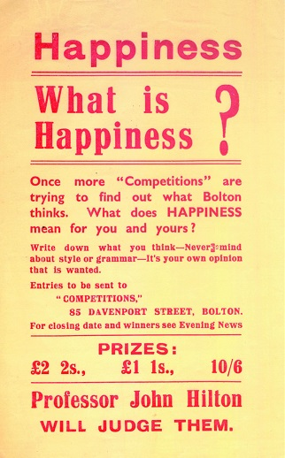 What is Happiness poster from 1938 advertising Mass Observations competition in Bolton